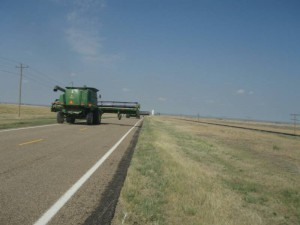 Combine traveling highway